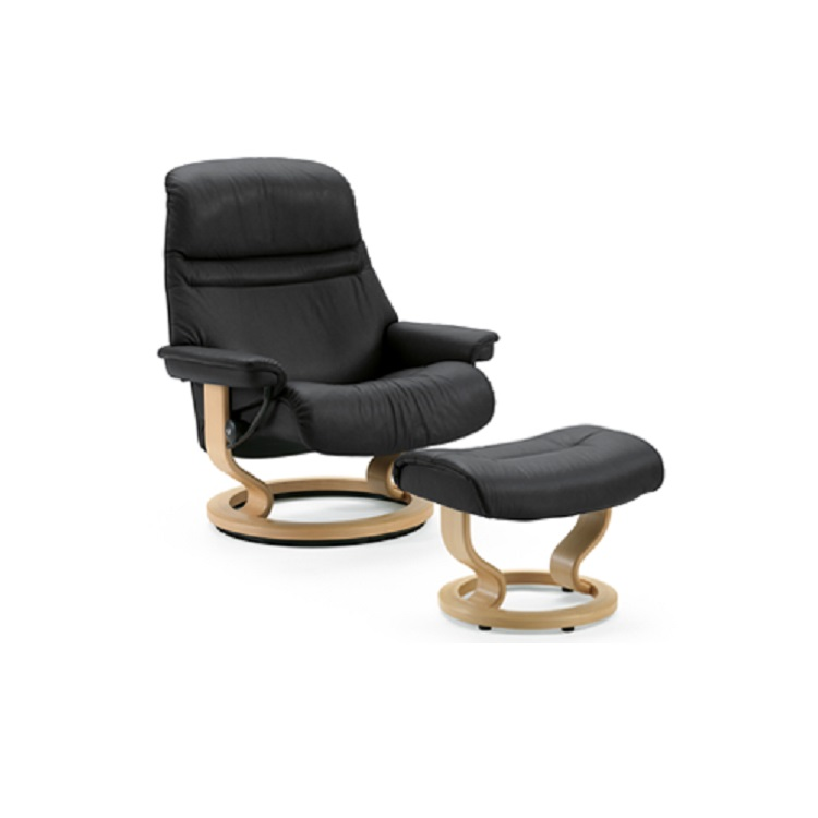 stressless sunrise chair and ottoman at decorum furniture decorum furniture store. Black Bedroom Furniture Sets. Home Design Ideas
