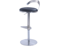 Chintaly 0412 Thin Metal-Back Adjustable Height Stool, Brushed Nickel