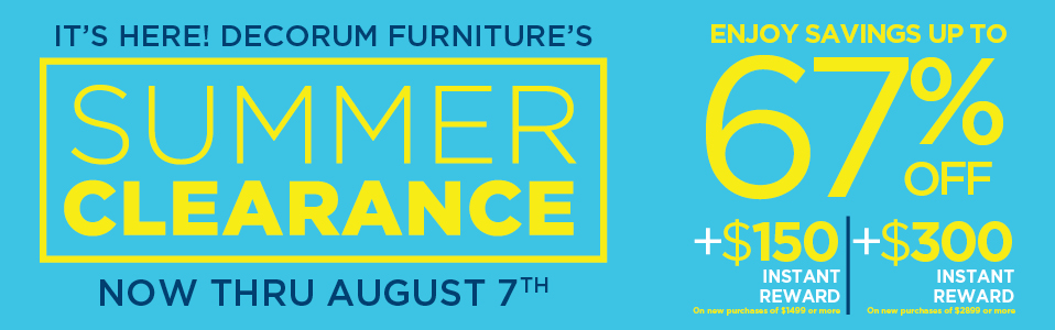 Decorum Furniture Sale Summer Clearance 2017